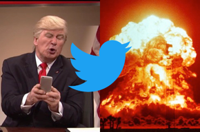 Fake Trump tweeting, Twitter logo, nuclear explosion.