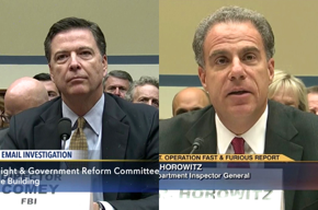 Photos of James Comey and Michael Horowitz.