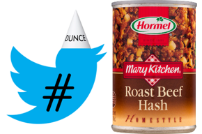 Left: Twitter logo bird wearing dunce cap and hash mark.  Right: A can of ro\ ast beef hash.
