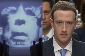 Photos of Big Brother from Apple's 1984 commercial and Facebook's Mark Zuckerberg.