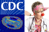 CDC logo, smallpox virus photo, clown doctor photo.